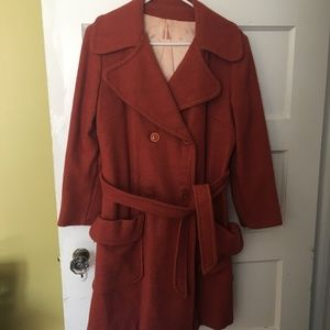 Vintage Rust Overcoat Trench Double Breasted Wool